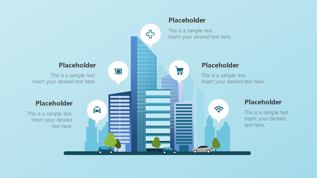 Editable PowerPoint Shapes of Smart City Infographics