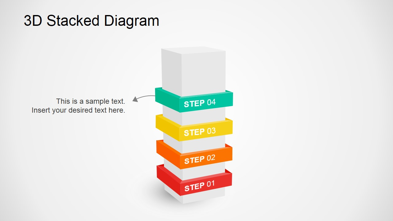Stacked Column In 3D Diagram PowerPoint