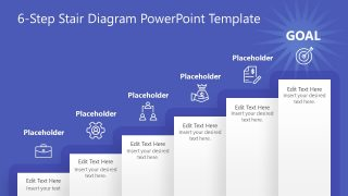 6-Step Stair Goal Diagram for PowerPoint