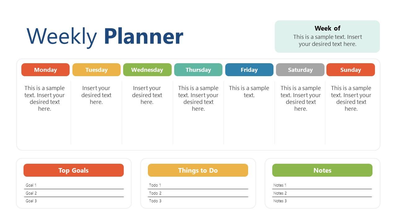 Weekly Schedule of Tasks in Planner Template