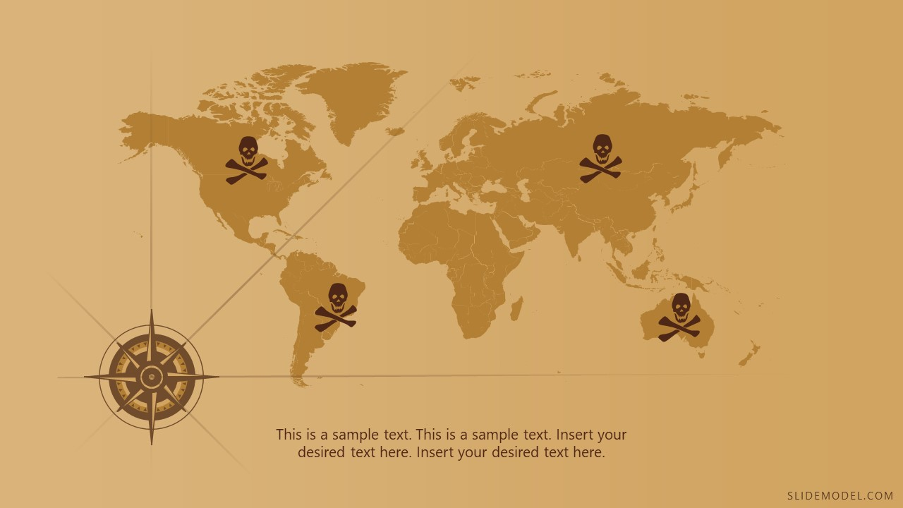 World Map of Treasure Hunting PowerPoint
