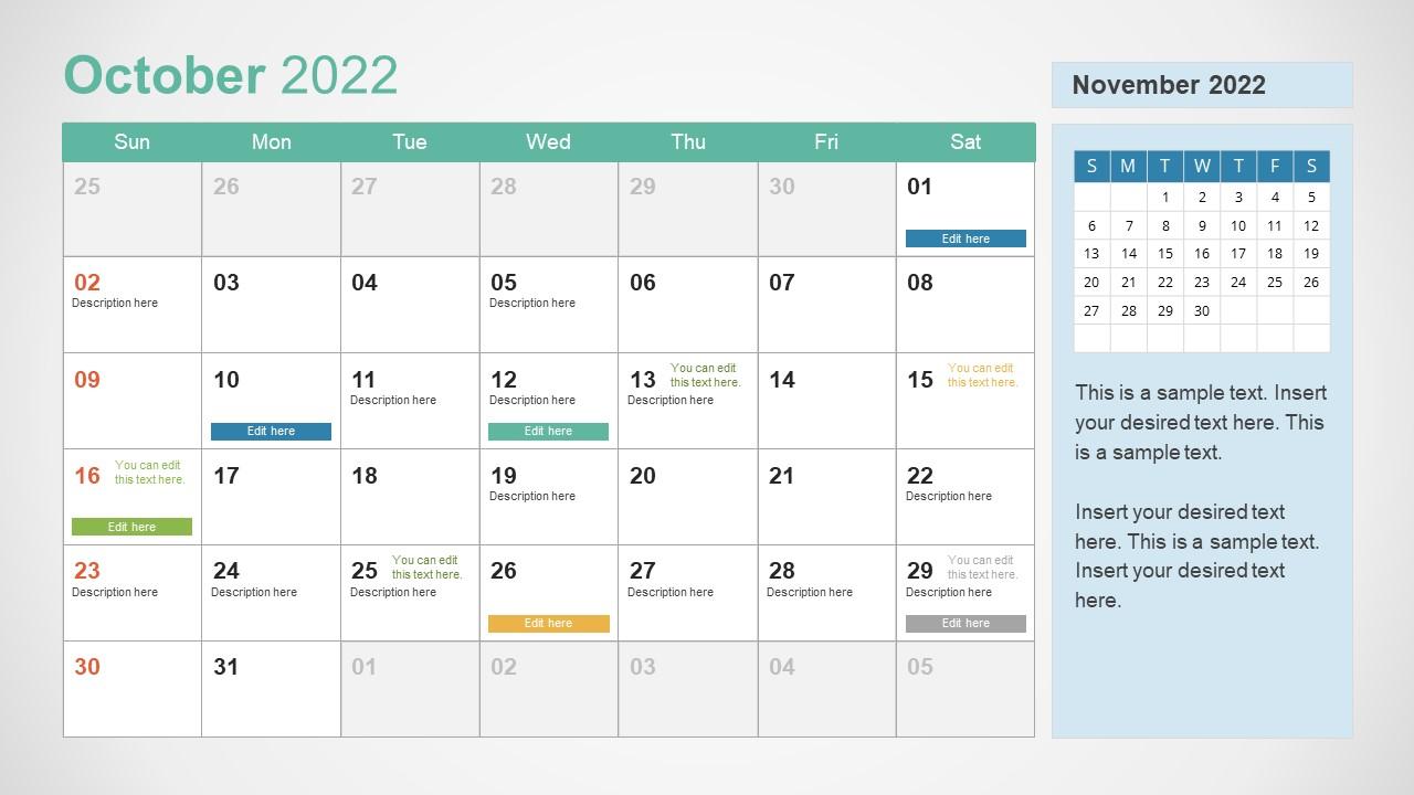 Template of October 2022 Calendar