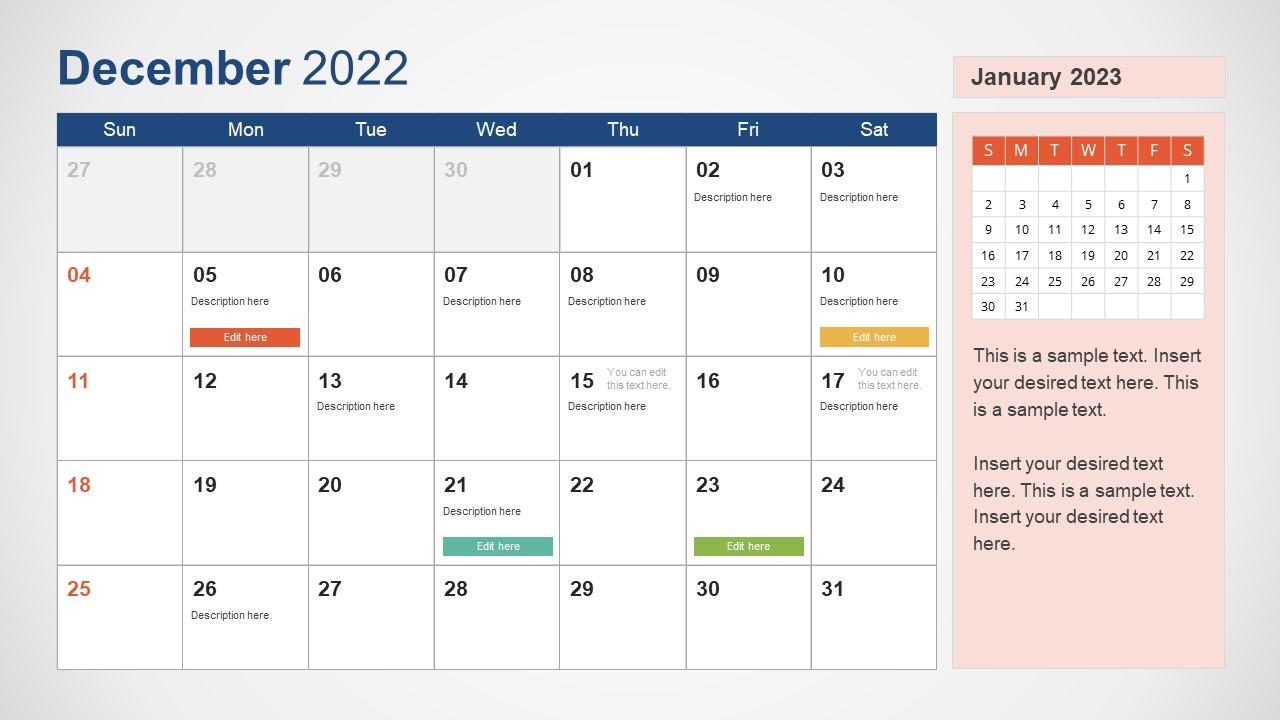 Template of December 2022 Calendar