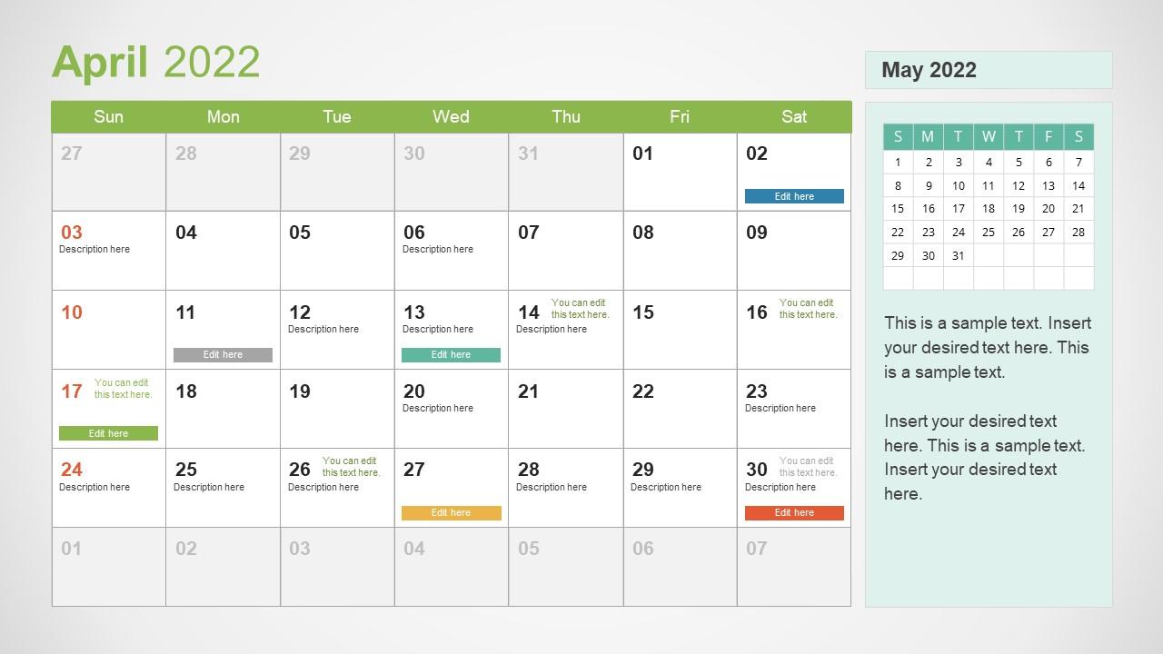 Template of April 2022 Calendar