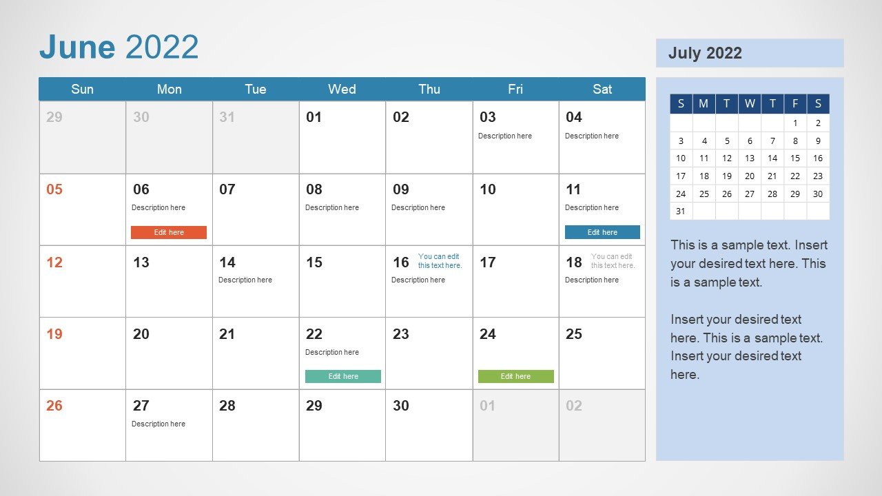 Template of June 2022 Calendar