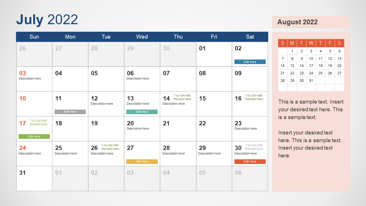 Template of July 2022 Calendar