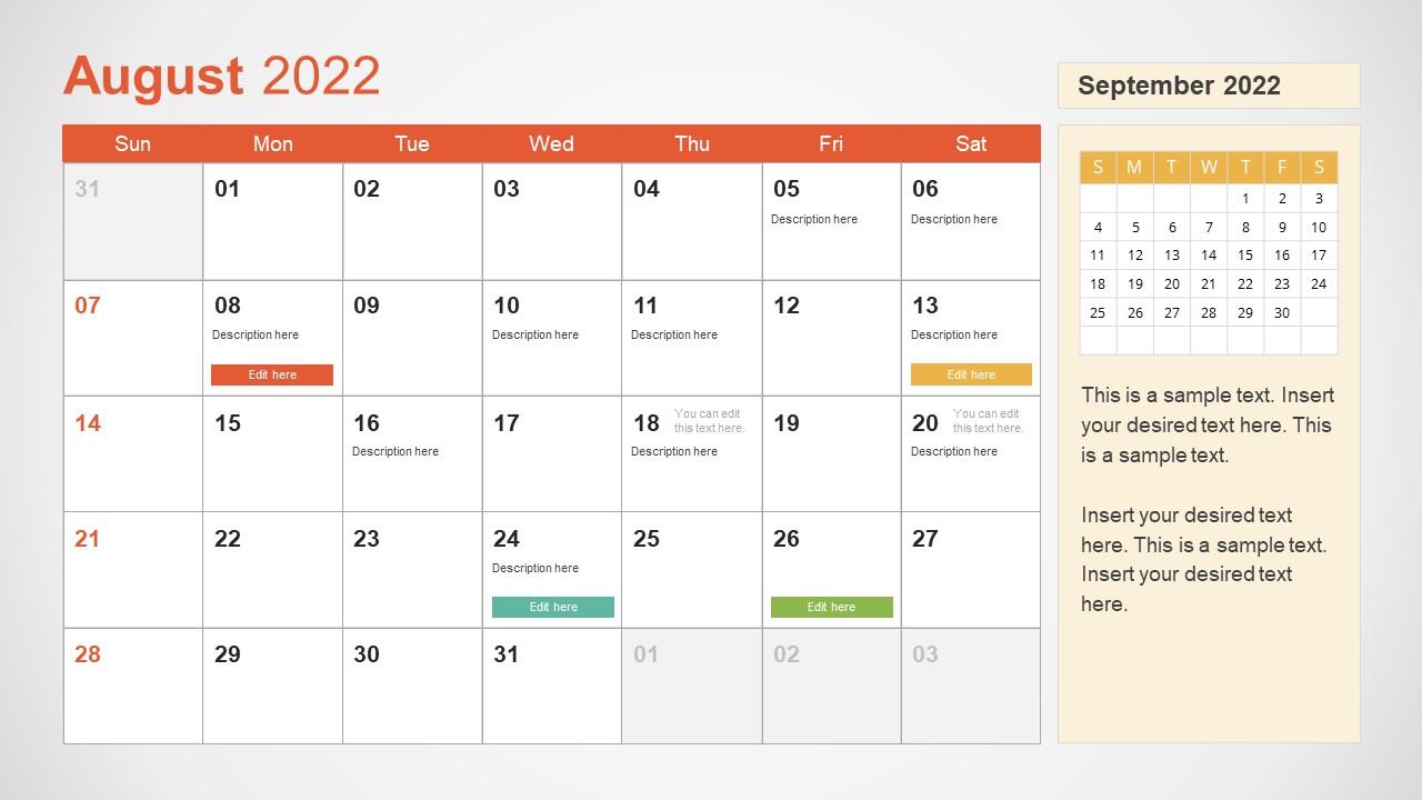 Template of August 2022 Calendar
