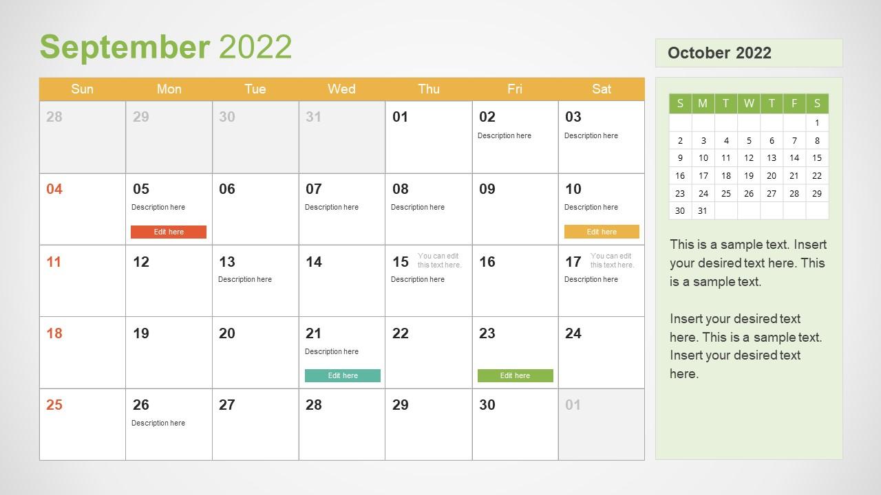 Template of September 2022 Calendar