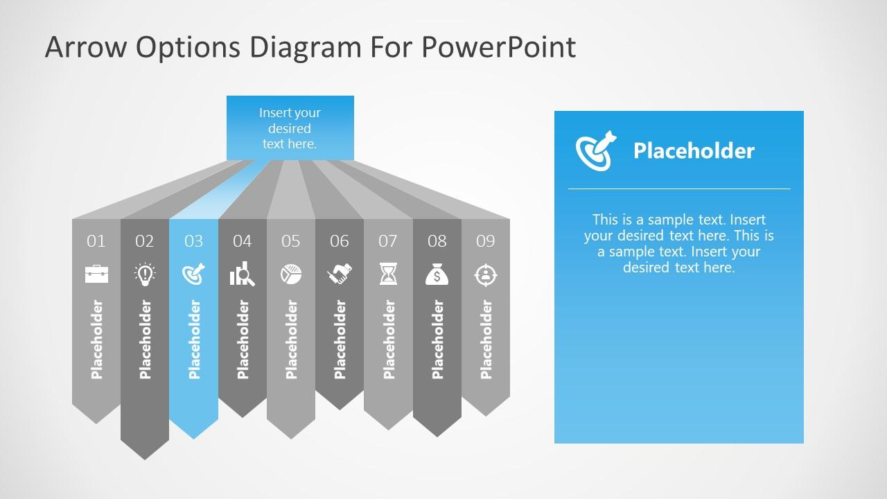 Three Segment of 9 Steps Arrows Diagram