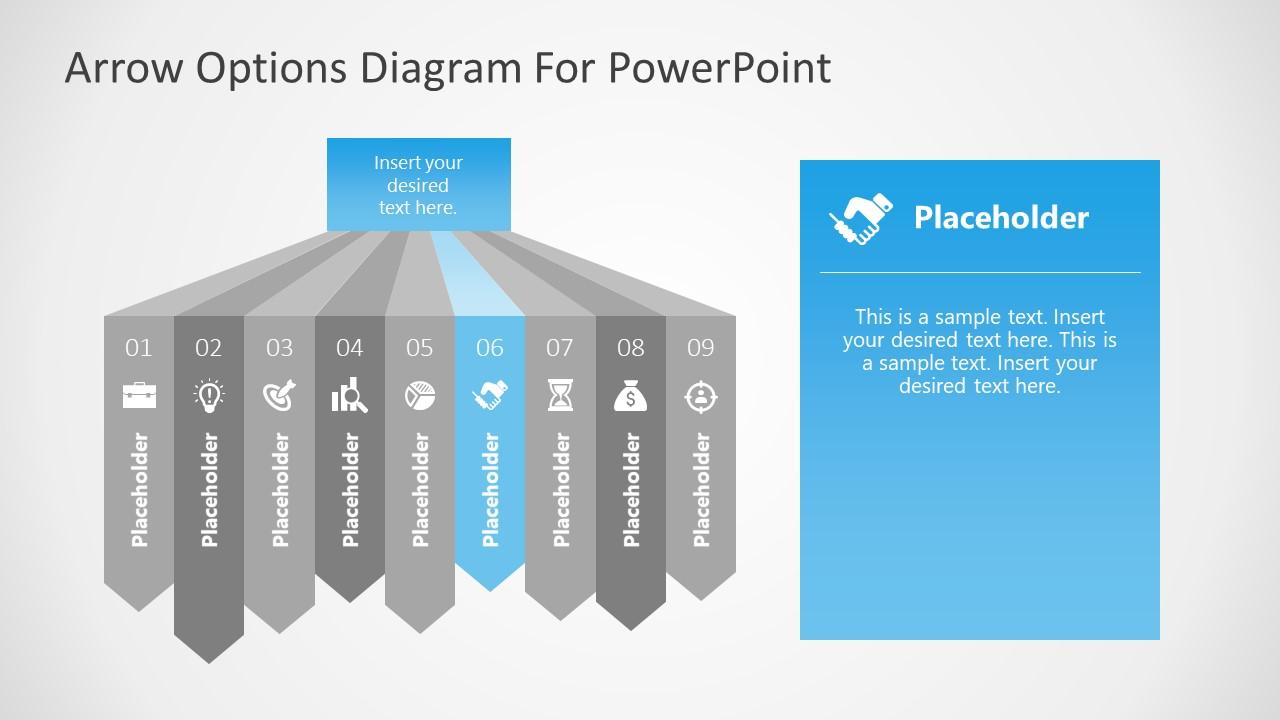 Six Segment of 9 Steps Arrows Diagram