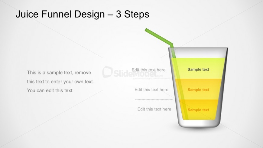 3 Layers Segmented Juice Funnel Diagram PowerPoint