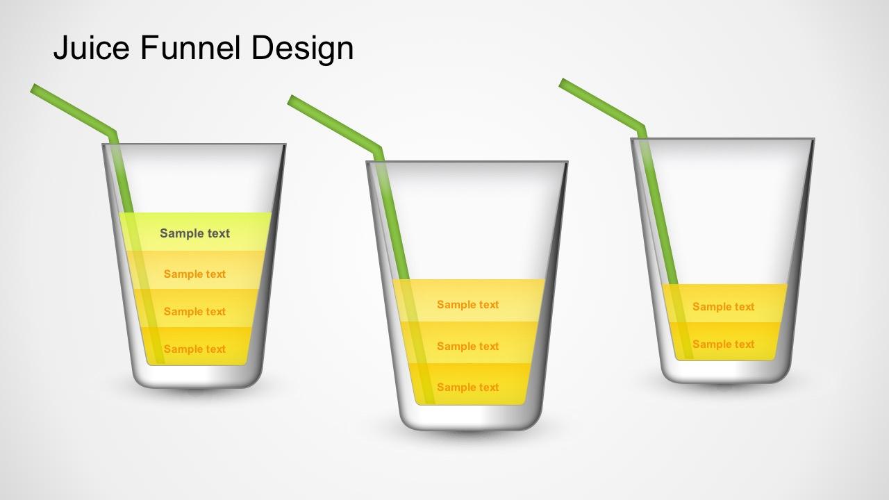 Juice Funnel Diagram Powerpoint Template Process Flow Orange