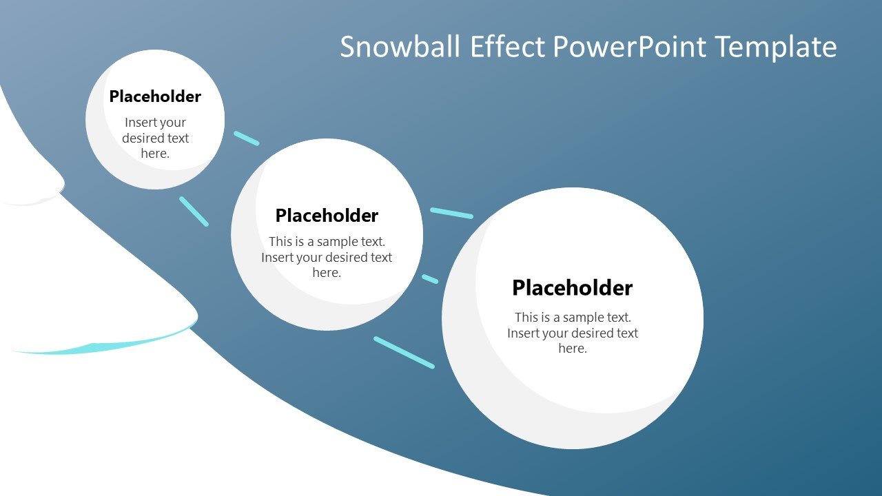 3 Steps Snowball Effects Diagram PPT
