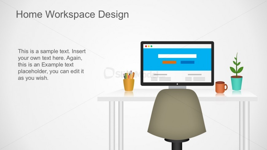 Editable Computer Workspace PowerPoint Design