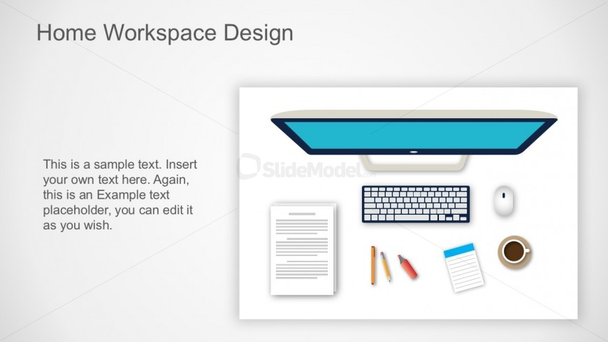 Flat Office Design With Computer Work Station