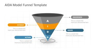 Funnel of AIDA Model Diagram Template