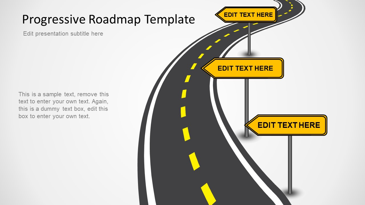 progressive roadmap powerpoint template slidemodel