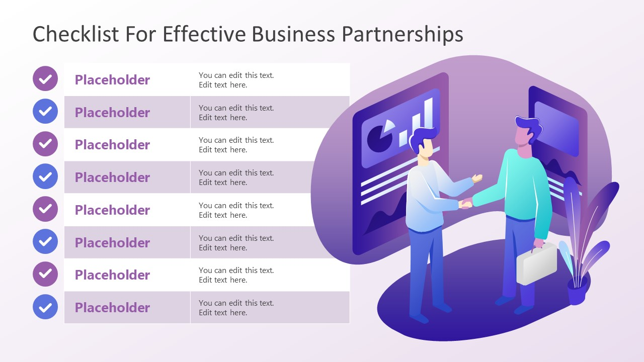 PPT Checklist Template for Business Partnership
