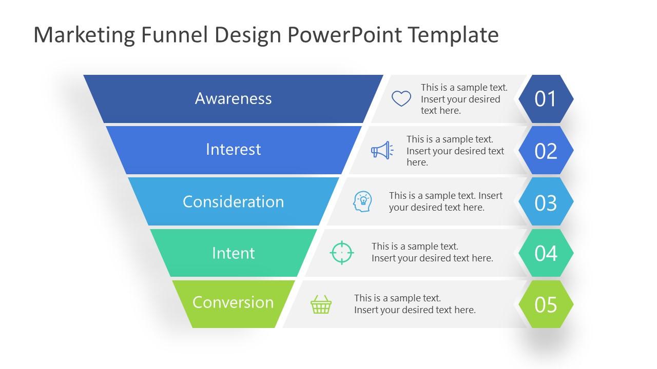 PowerPoint Marketing Funnel Convert Level