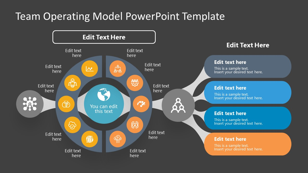 Team Operating Model Slide for PowerPoint is a presentation slide design for PowerPoint with a dark background and a series of diagrams depicting a Team Operating Model. The editable text placeholders can be used to prepare a presentation on Team Operating principles and model.