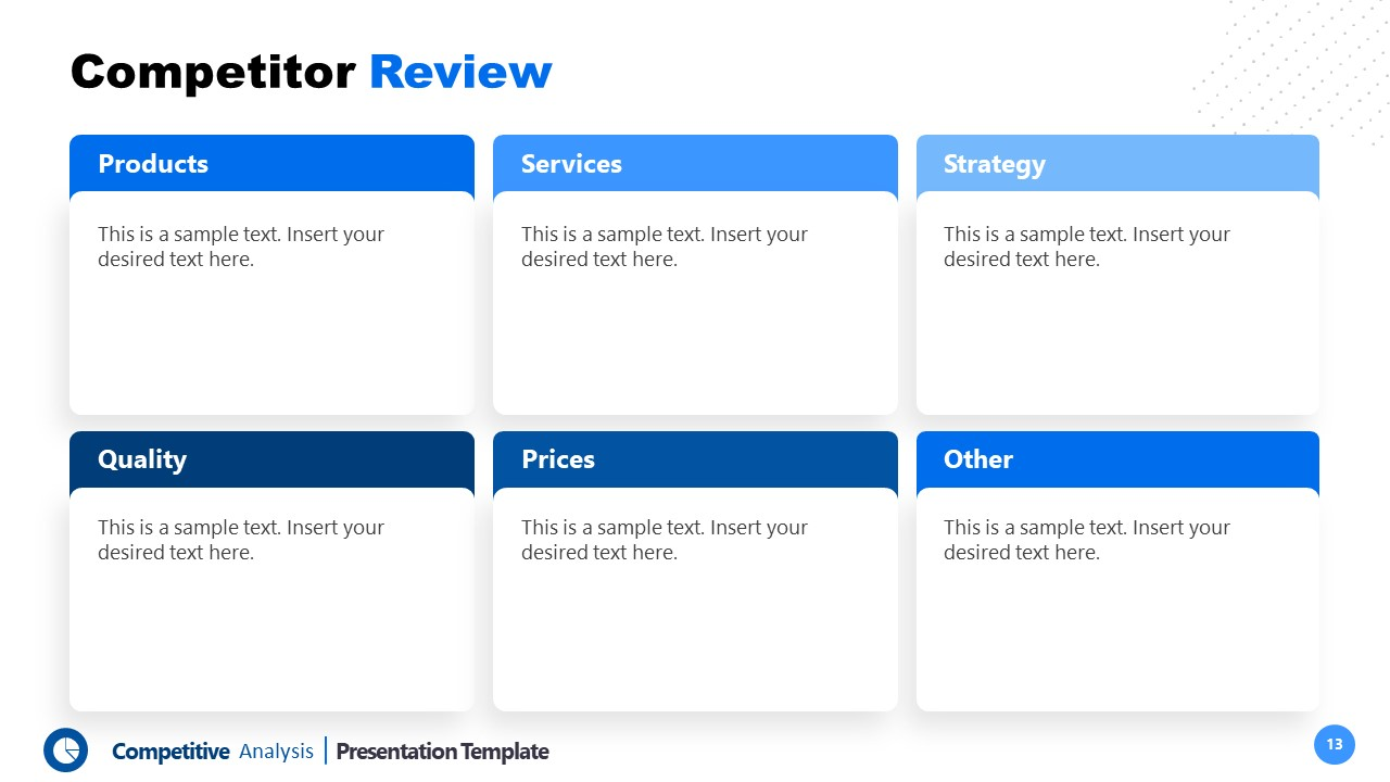 Segments of Competitors Review PPT