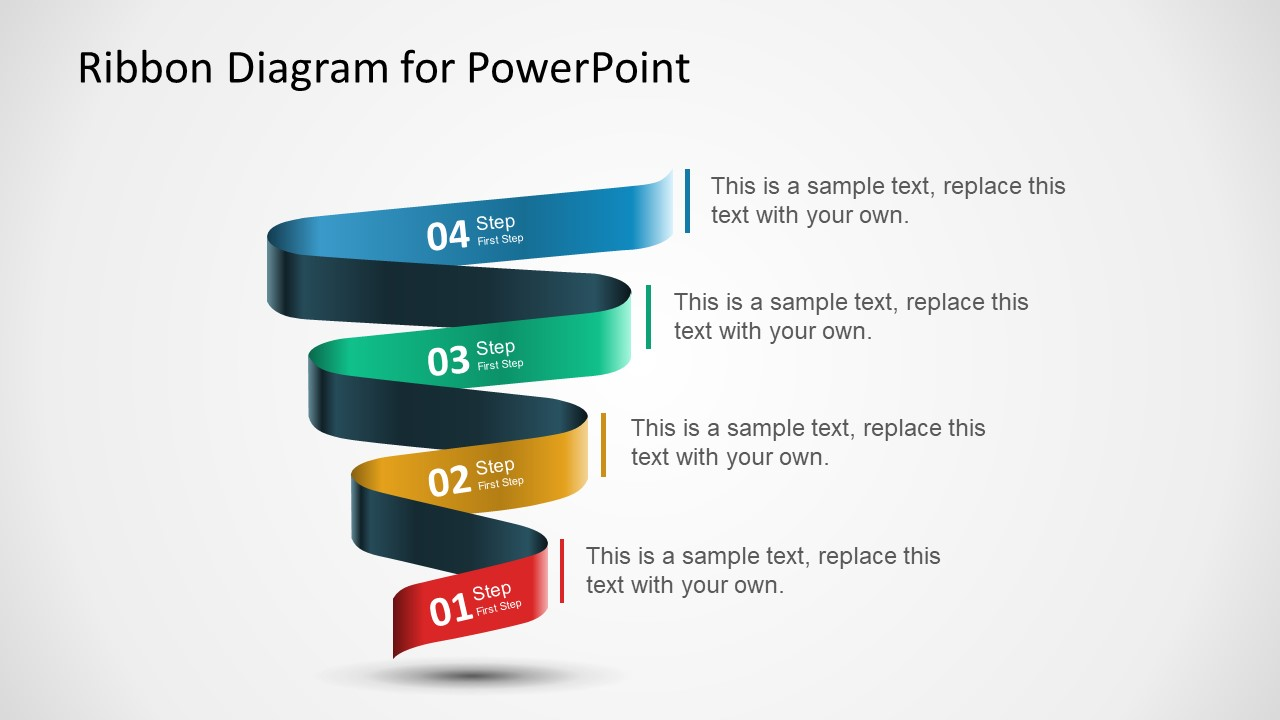 Multi-step Ribbon Diagram Template For Powerpoint