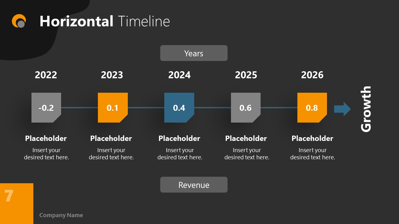 Dark PowerPoint Theme for Yearly Timeline Slide