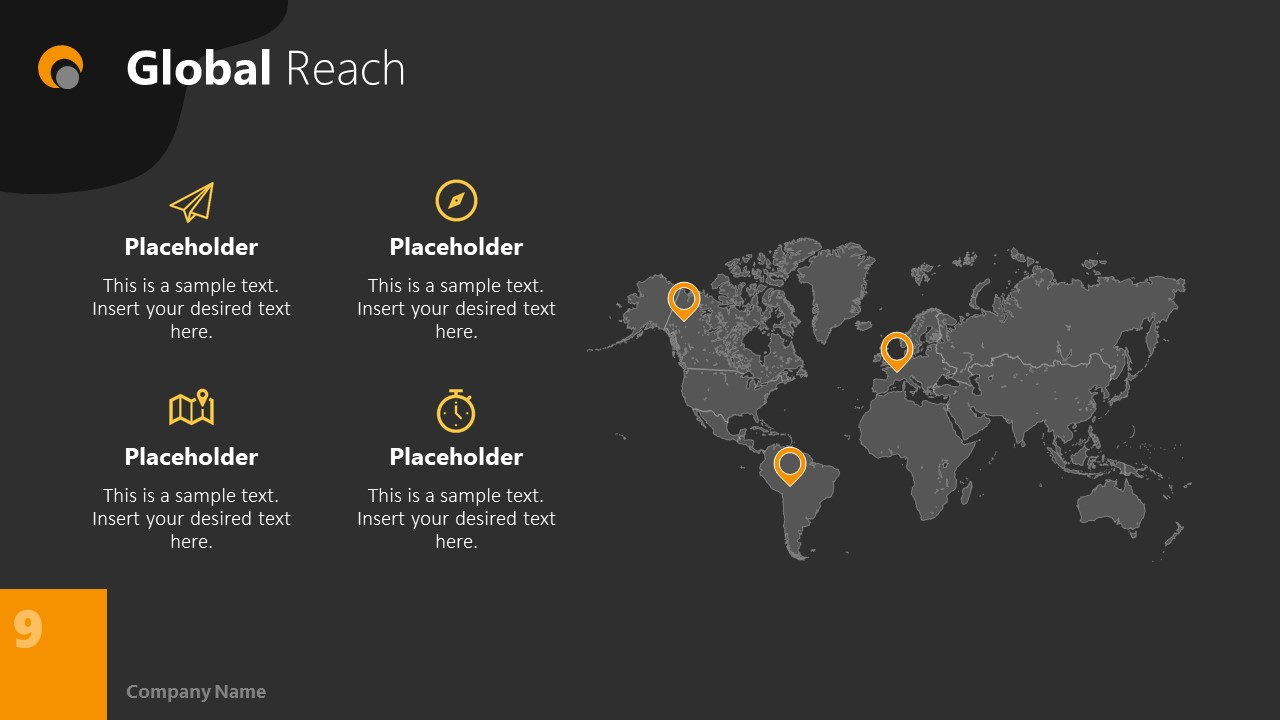 Dark PowerPoint Theme for Global Reach Slide