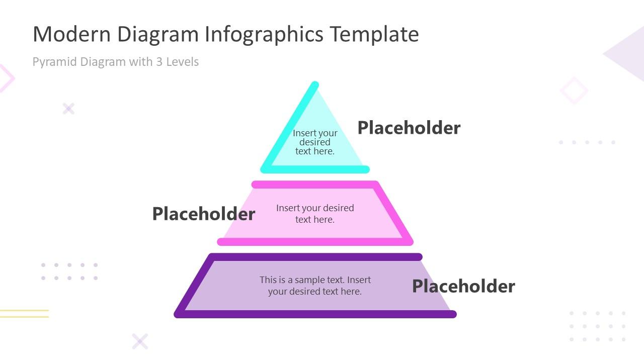 Modern Infographics 3 Steps Pyramid Template