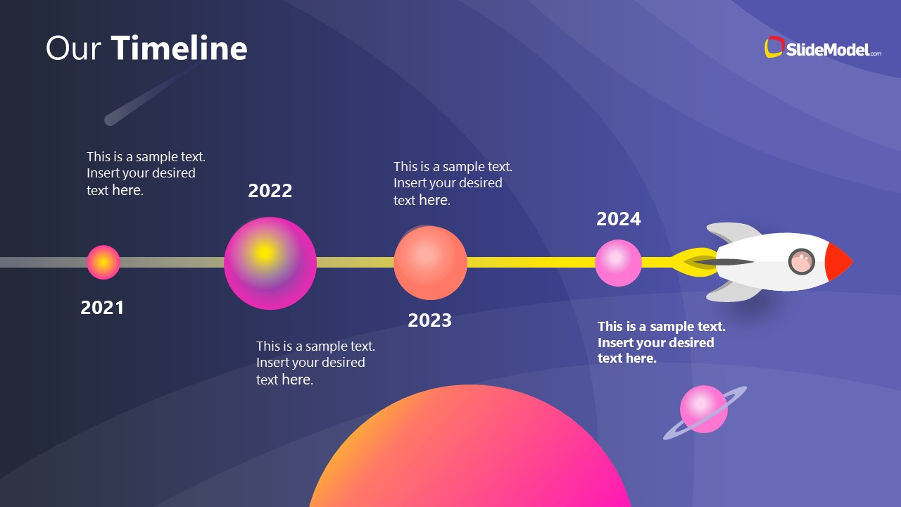 PowerPoint Theme of Outer Space Business Timeline
