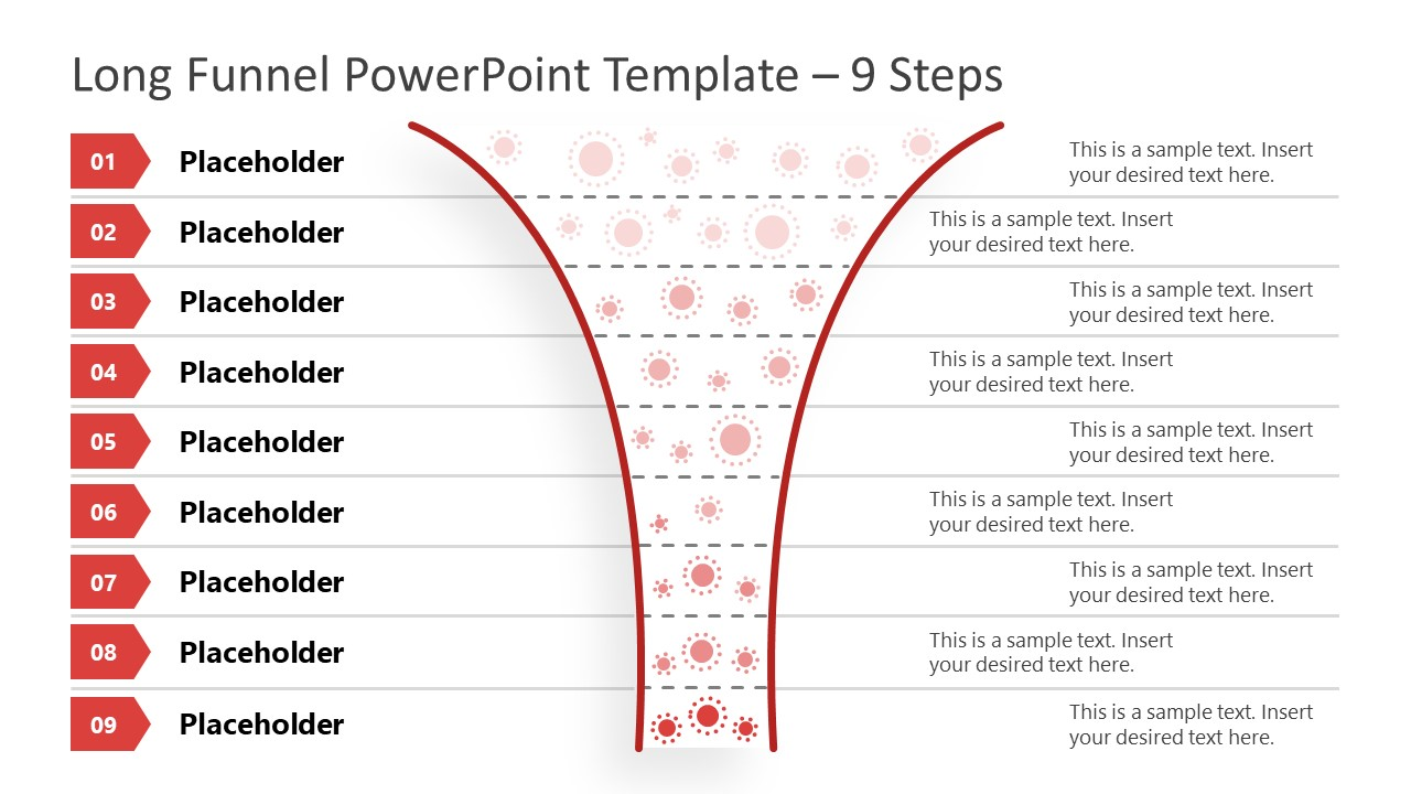 Funnel Diagram 9 Steps PowerPoint Template