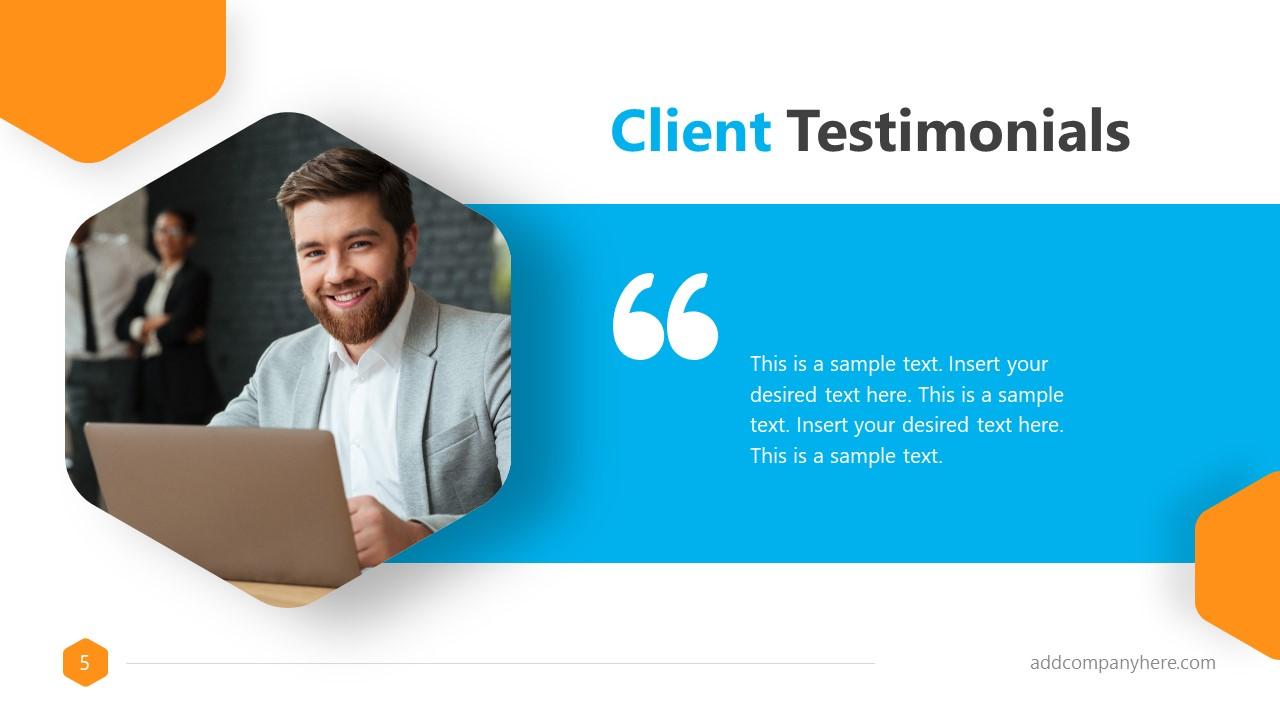 Business Presentation Formal Client Testimonial Slide