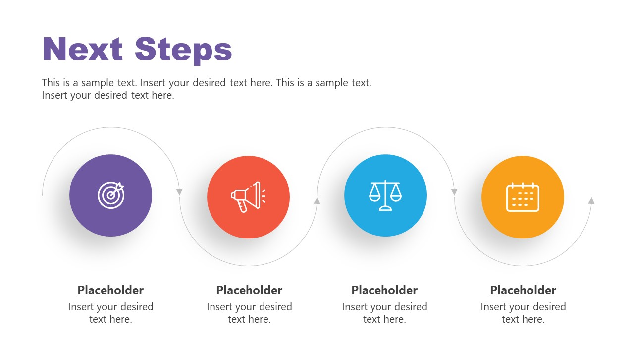 4 Steps Horizontal Timeline Diagram for Next Steps