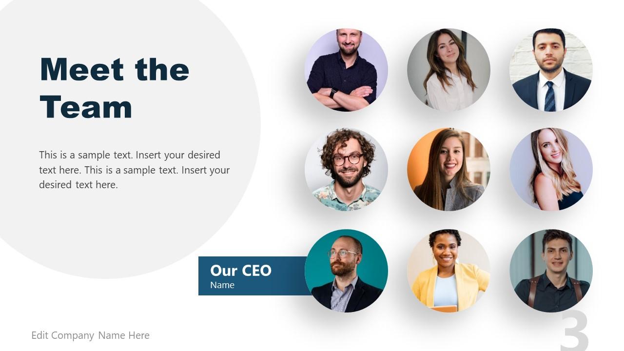 9 Section Meet The Team Template Design