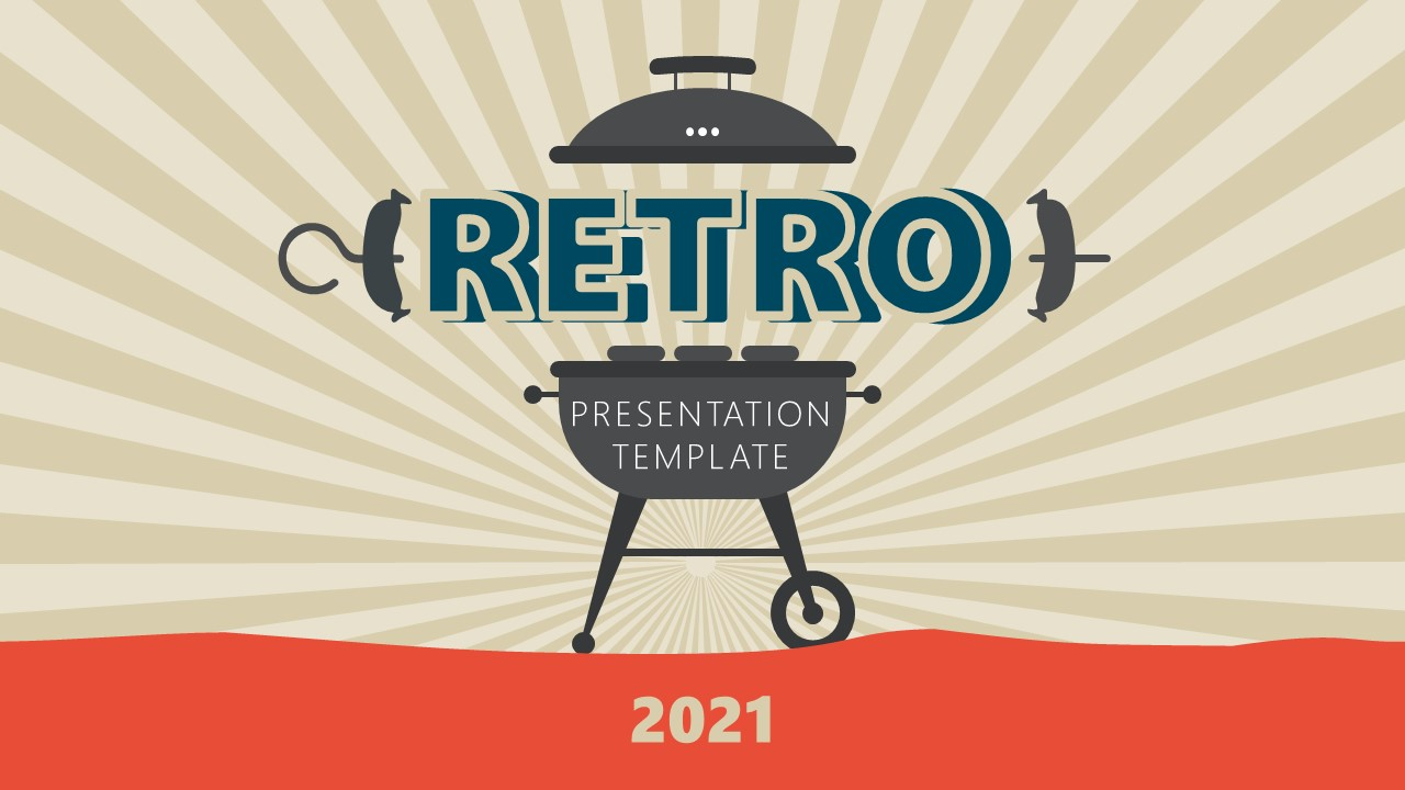 Cover BBQ Stand Retro PowerPoint