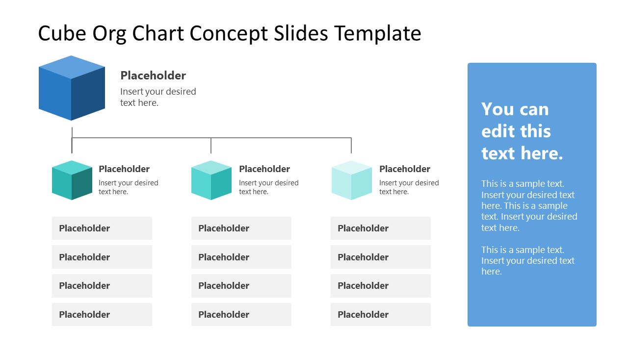 PPT Template for Org Chart Cube Shapes