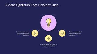 3 Steps Lightbulb Core Concept Ideas