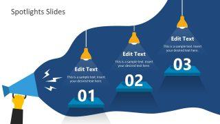Blue Megaphone Waves 3 Steps Spotlight Template
