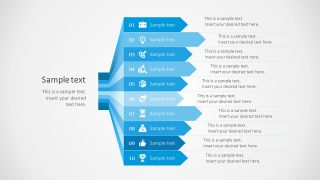10 Steps Arrows Bars PowerPoint Diagram