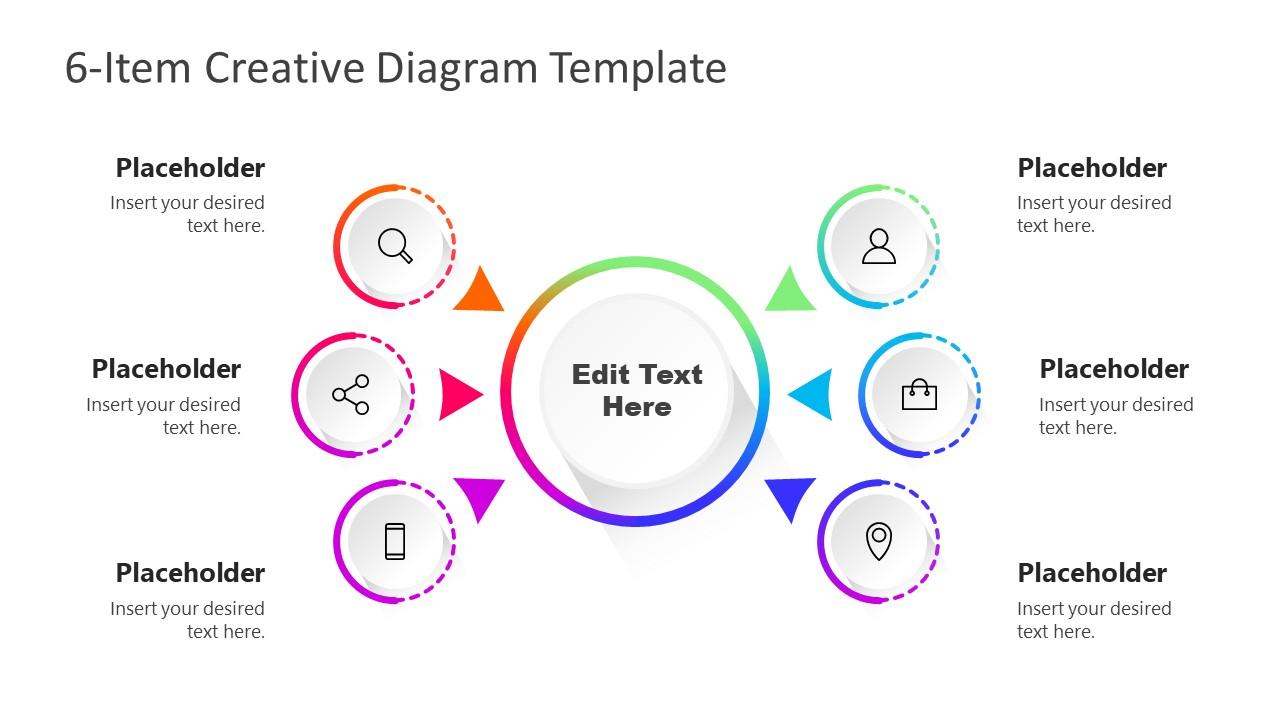 Gradient Diagram 6 Steps PowerPoint
