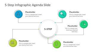 PPT Agenda Presentation 5 Steps Mind Map