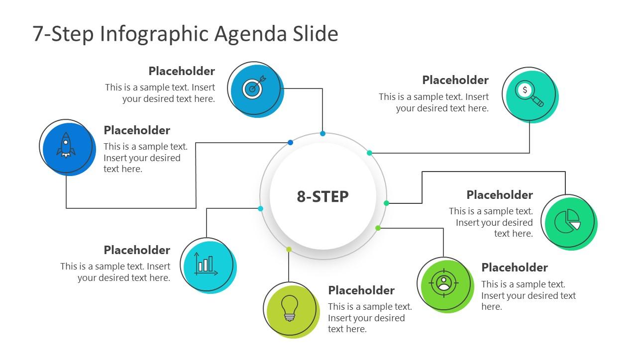 PPT Agenda Presentation 7 Steps Mind Map