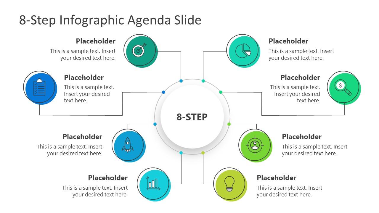 PPT Agenda Presentation 8 Steps Mind Map