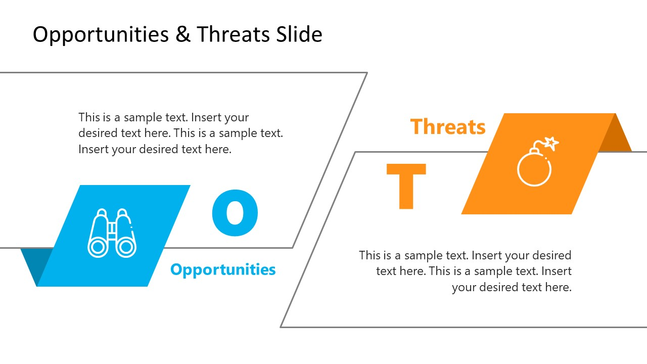 Two Segment PowerPoint Template of Threats and Opportunities