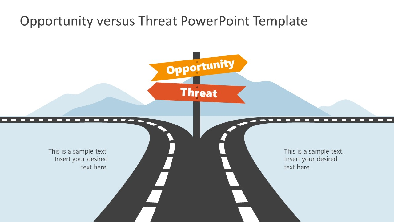 PowerPoint Roadmap Signboards for Opportunities Threats