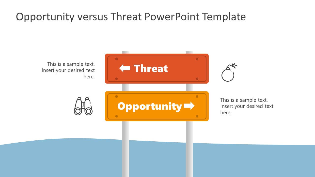PowerPoint Signboard Template for Opportunities Threats