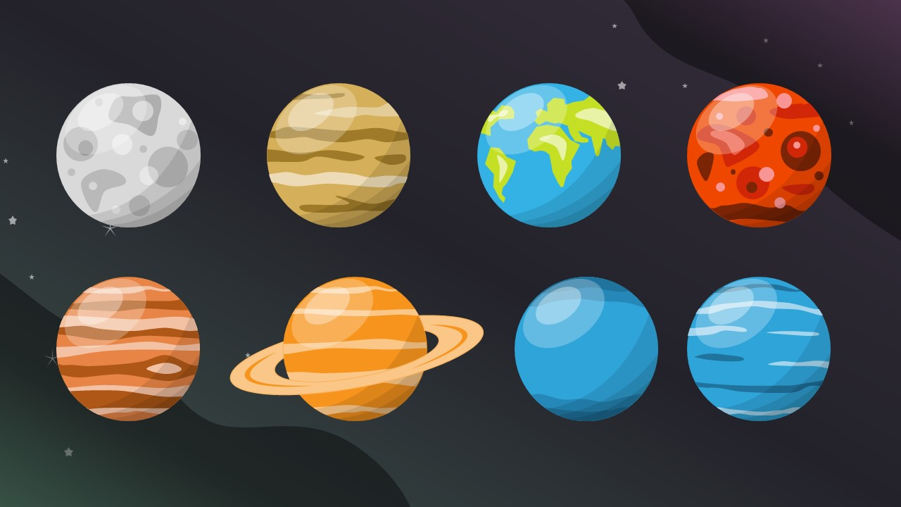 Shapes of 8 Planets in Solar System
