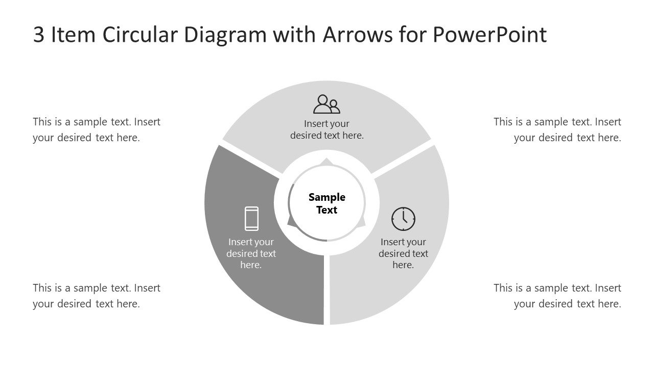 Step 3 Arrow 3 Items Circular Diagram
