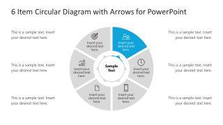 6 Steps Arrow 1 Circular PowerPoint Diagram