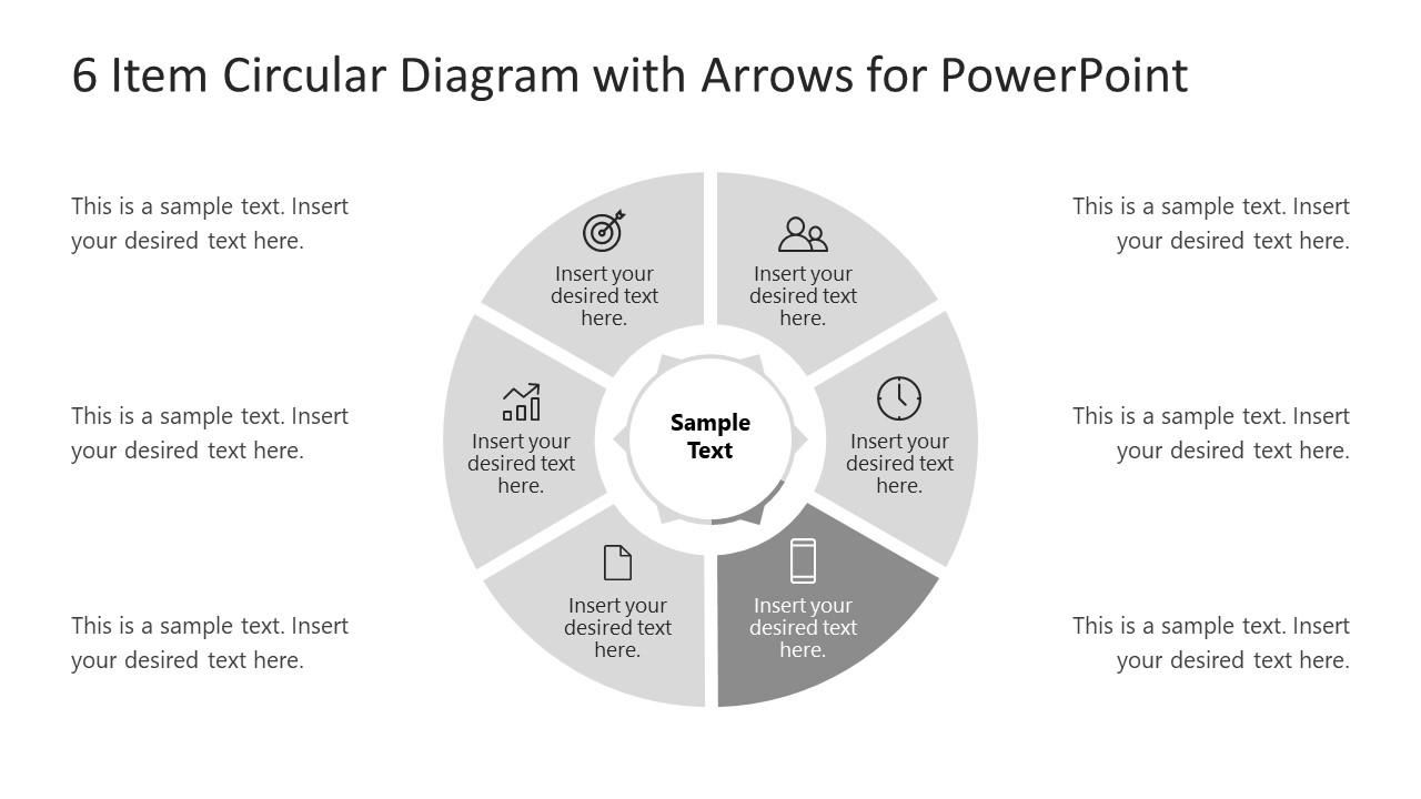 6 Steps Arrow 3 Circular PowerPoint Diagram